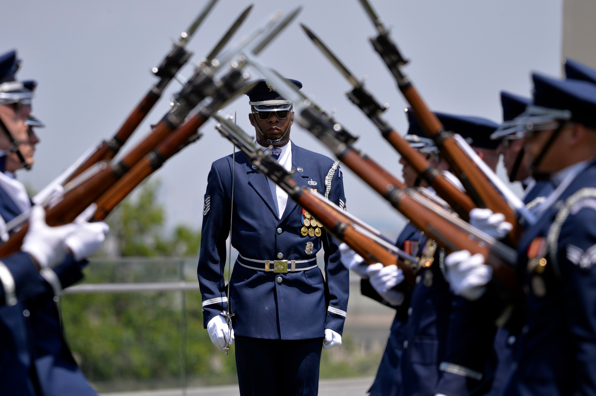<b>The U.S. Air Force Honor Guard Drill Team is sure to inspire with intricate drills using 11-pound fixed-bayonet M-1 Garand service rifles that can rotate at up to a velocity of 40 miles per hour mere inches from their bodies. The rifles and the bayonets are real!