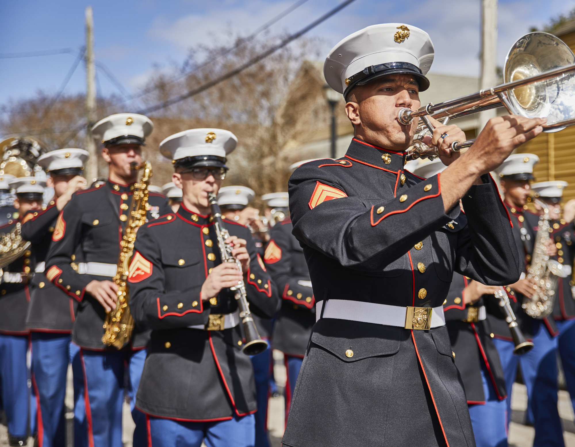 """<b>Established in 1978, the Marine Forces Reserve Band and is comprised of active duty Marines stationed aboard the Marine Corps Support Facility in New Orleans, Louisiana. Prepared to """"Fight Tonight,"""" these Marines can be called upon to provide security, both domestically and overseas. The band performs in over 350 concerts, parades, and ceremonies before more than 8 million people annually and often leads Mardi Gras parades."""